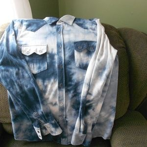 Blue& Whie  Tie-Dye Blouse by Express. Medium